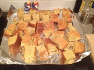 plain cornbread drying for dressing